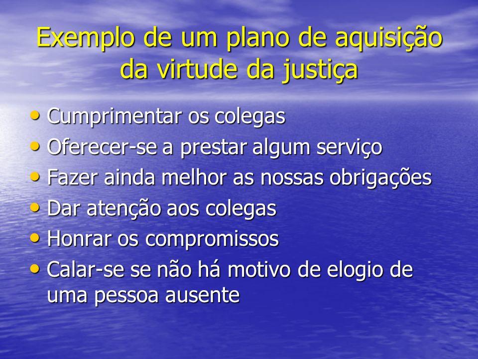 Exemplo de um plano de aquisição da virtude da justiça