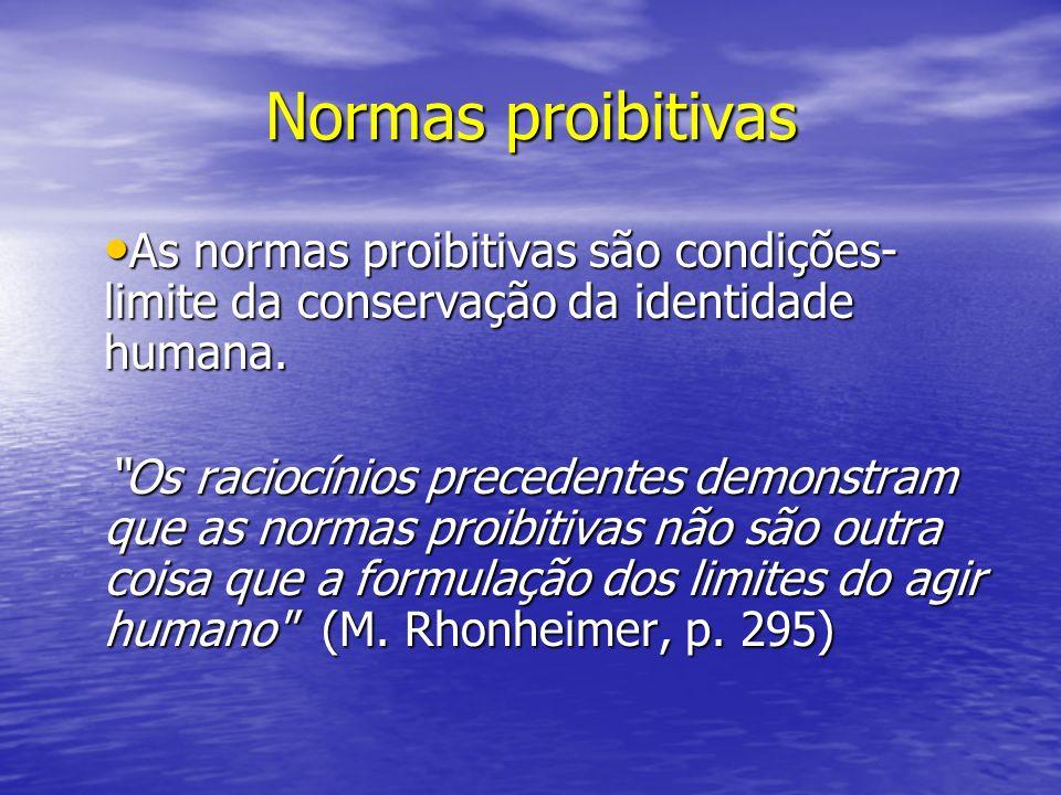Normas proibitivas As normas proibitivas são condições-limite da conservação da identidade humana.