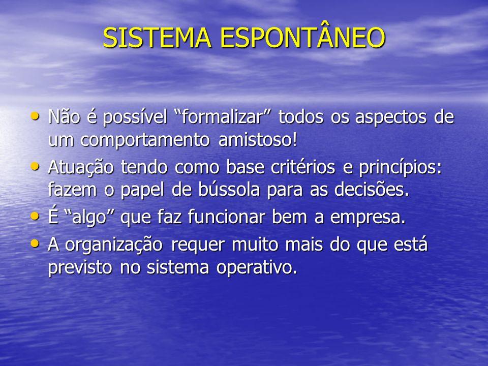 SISTEMA ESPONTÂNEO Não é possível formalizar todos os aspectos de um comportamento amistoso!