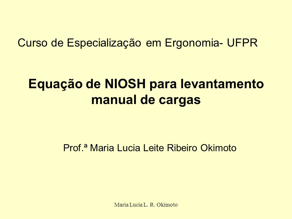 Equação de NIOSH para levantamento manual de cargas