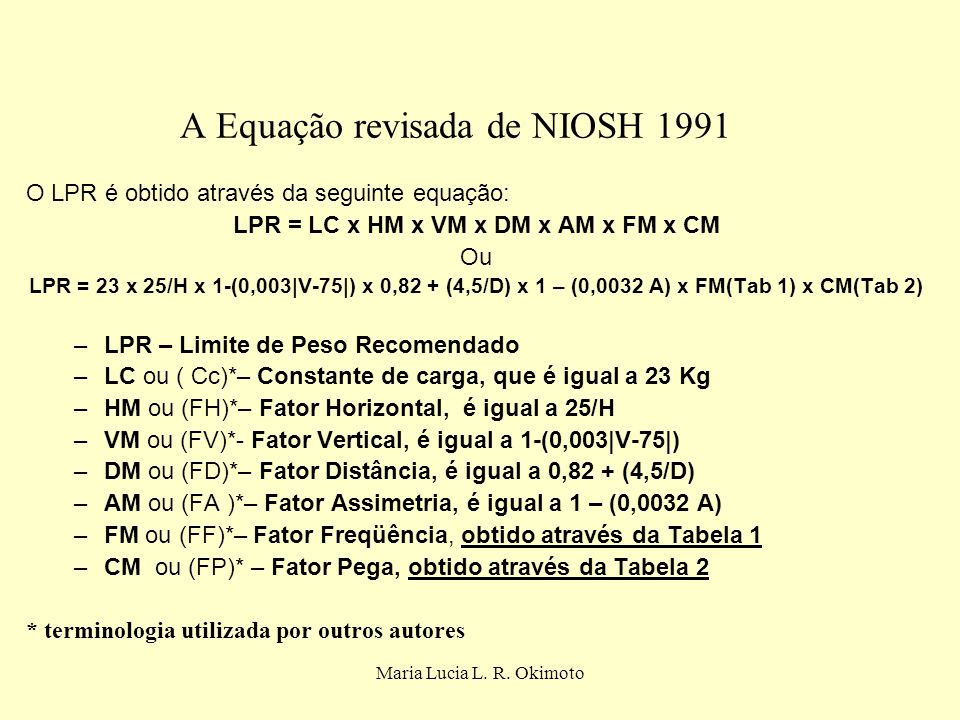 A Equação revisada de NIOSH 1991