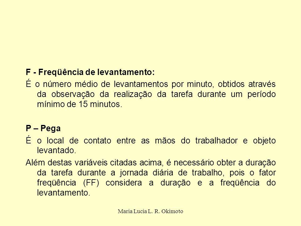 F - Freqüência de levantamento: