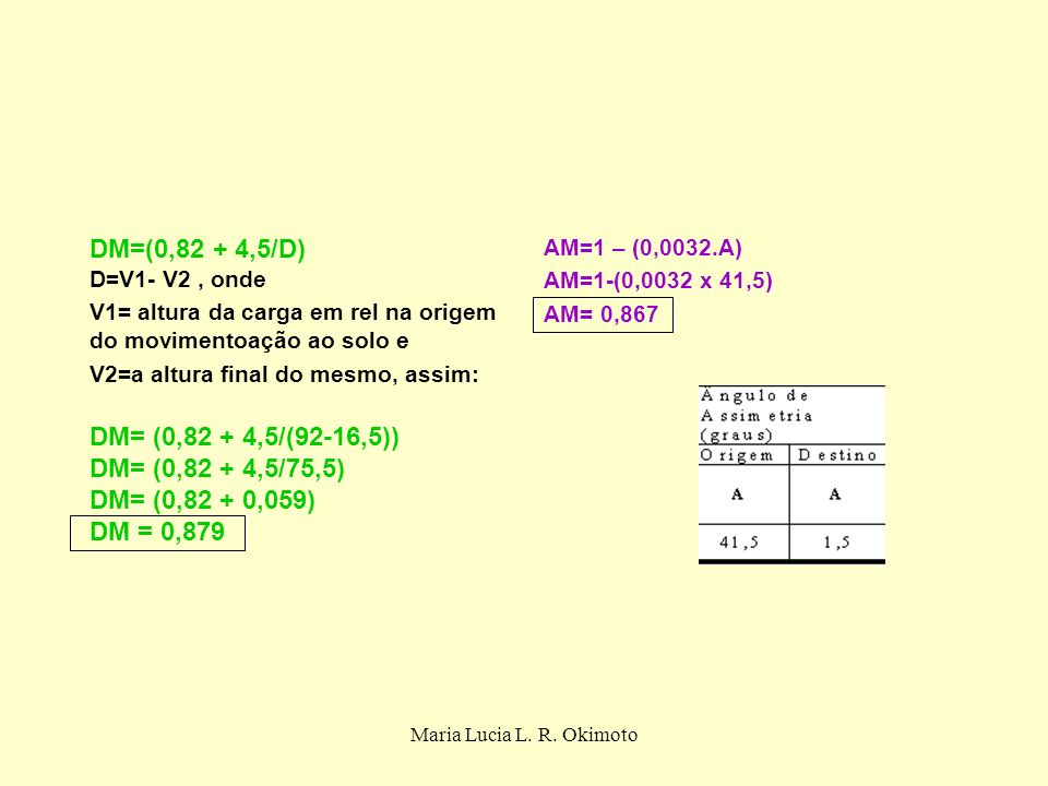 DM=(0,82 + 4,5/D) D=V1- V2 , onde DM= (0,82 + 4,5/(92-16,5))
