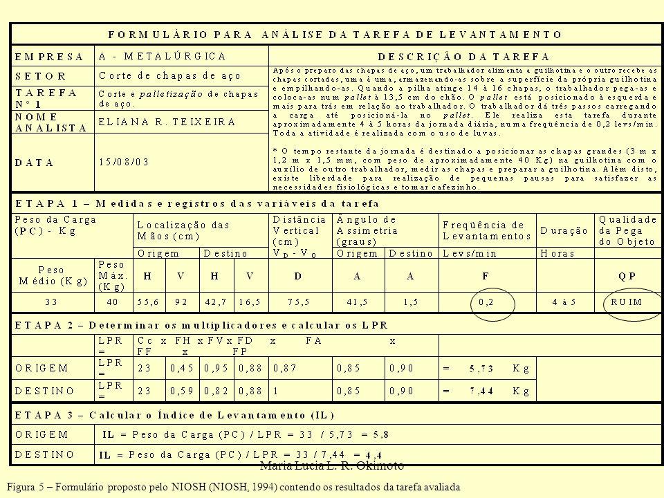 Figura 5 – Formulário proposto pelo NIOSH (NIOSH, 1994) contendo os resultados da tarefa avaliada