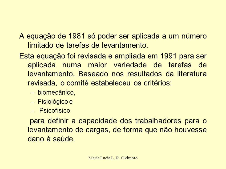 A equação de 1981 só poder ser aplicada a um número limitado de tarefas de levantamento.