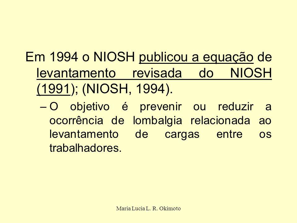 Em 1994 o NIOSH publicou a equação de levantamento revisada do NIOSH (1991); (NIOSH, 1994).