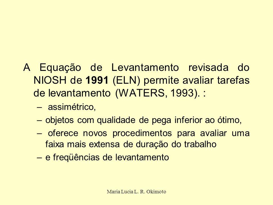 A Equação de Levantamento revisada do NIOSH de 1991 (ELN) permite avaliar tarefas de levantamento (WATERS, 1993). :