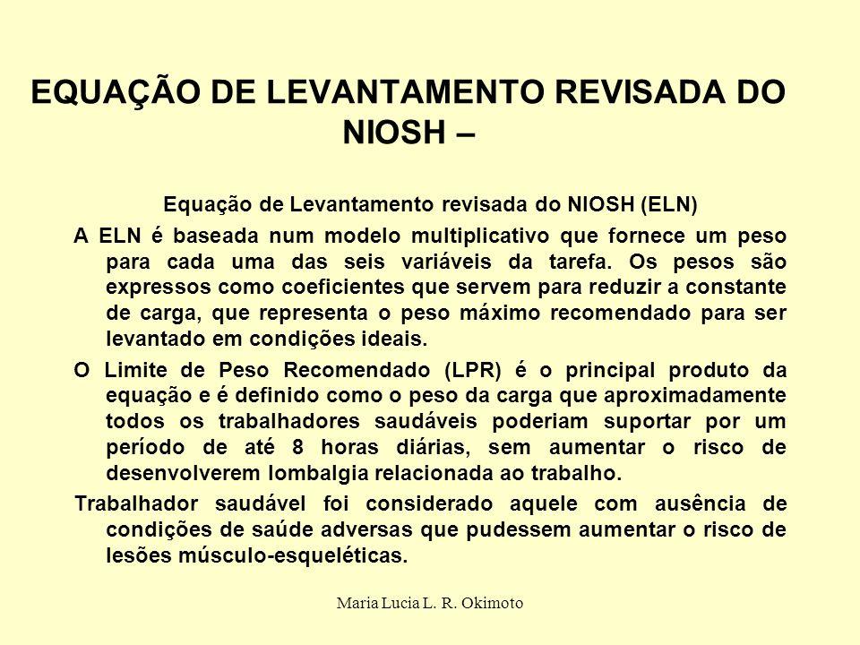 EQUAÇÃO DE LEVANTAMENTO REVISADA DO NIOSH –