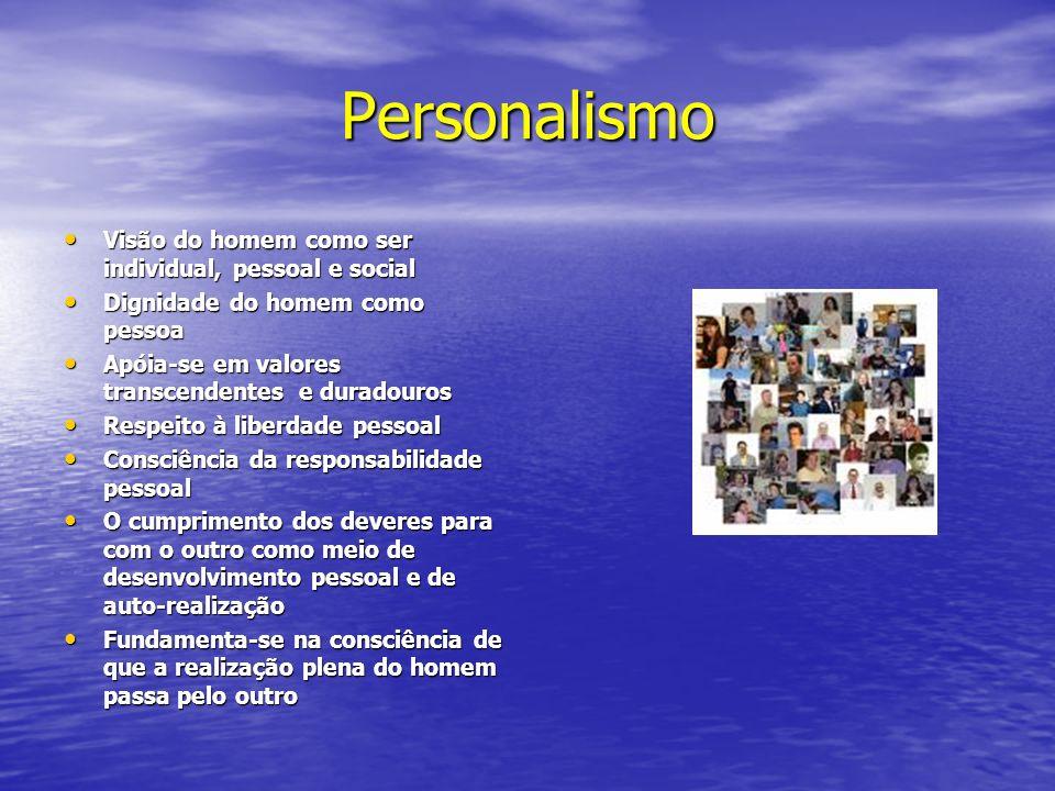 Personalismo Visão do homem como ser individual, pessoal e social