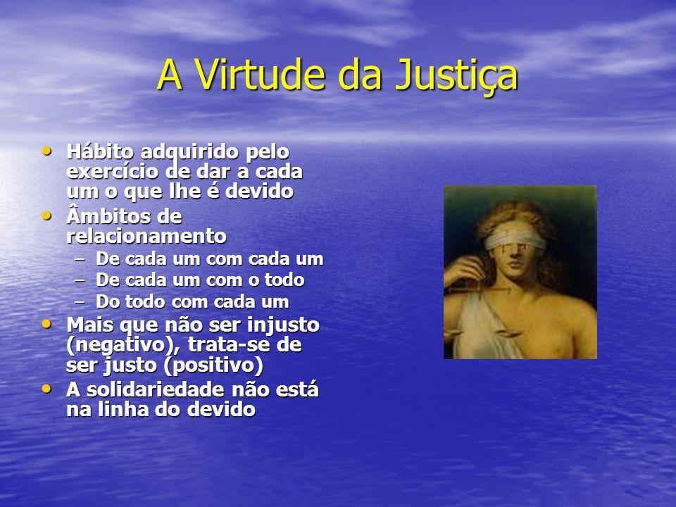 A Virtude da Justiça Hábito adquirido pelo exercício de dar a cada um o que lhe é devido. Âmbitos de relacionamento.
