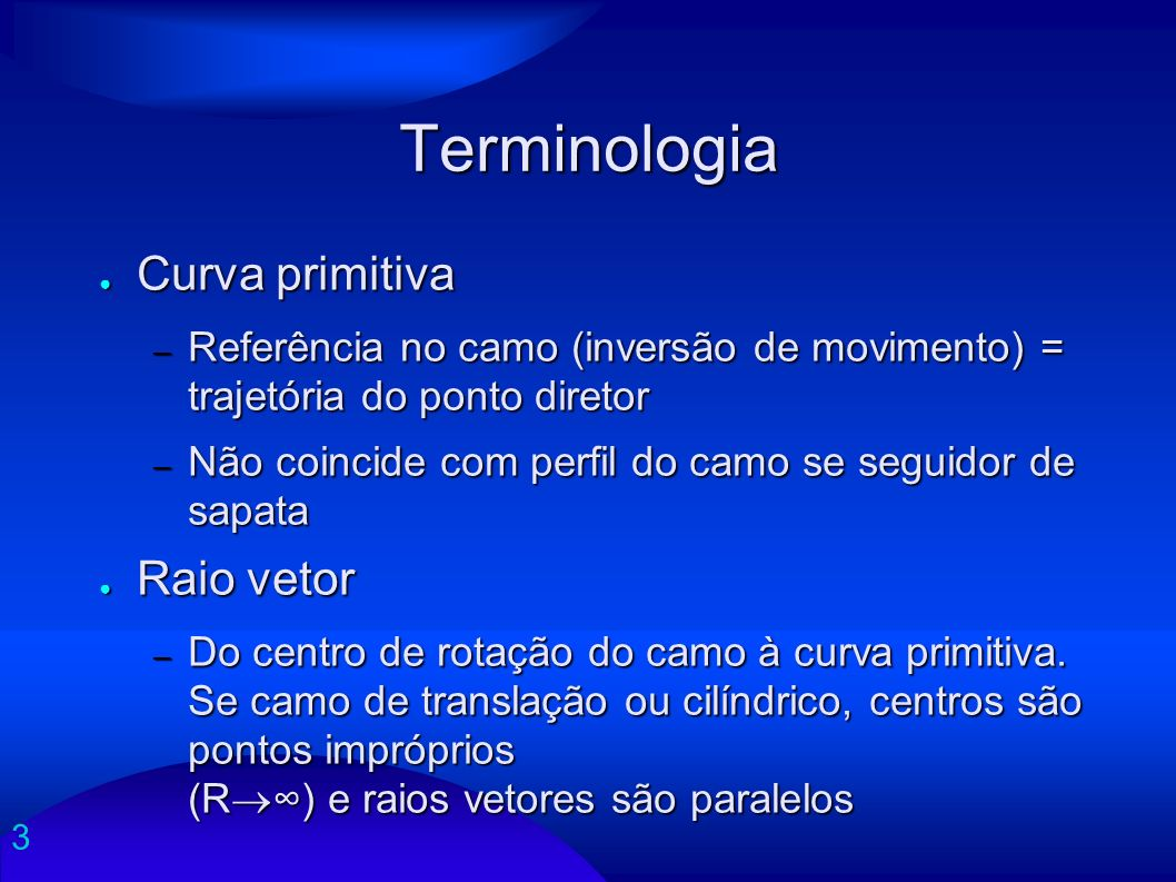 Terminologia Curva primitiva Raio vetor
