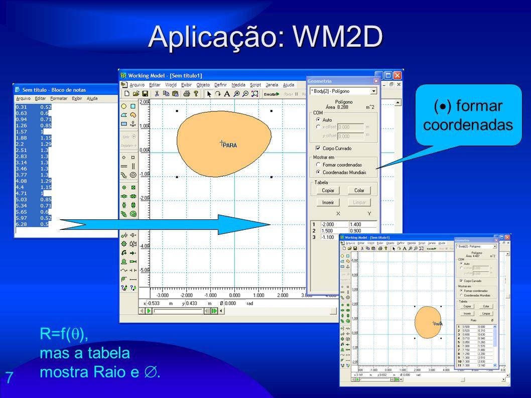 Aplicação: WM2D () formar coordenadas R=f(), mas a tabela