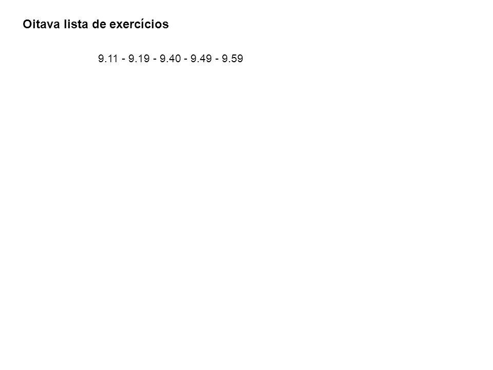 Oitava lista de exercícios