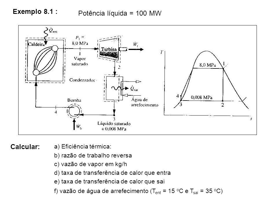 Exemplo 8.1 : Potência líquida = 100 MW Calcular: