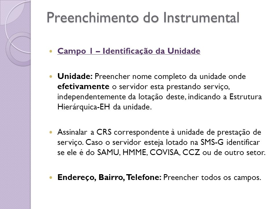 Preenchimento do Instrumental