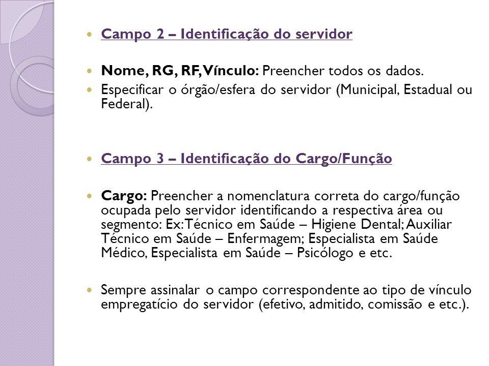 Campo 2 – Identificação do servidor