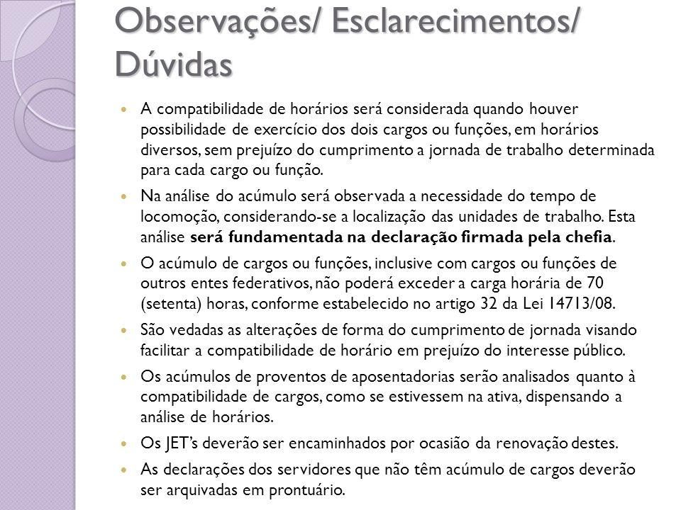 Observações/ Esclarecimentos/ Dúvidas