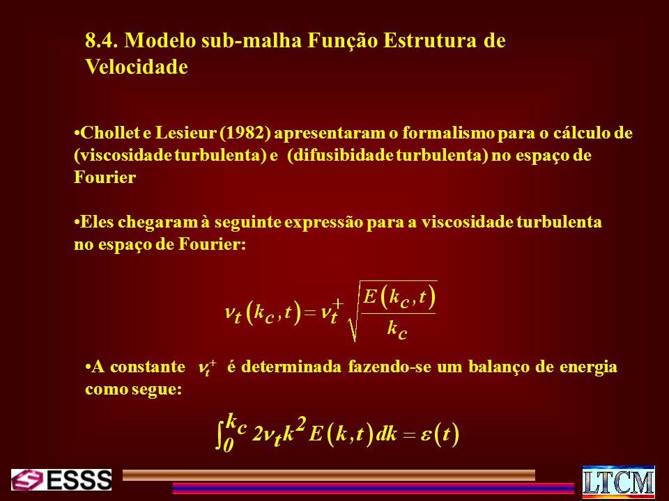8.4. Modelo sub-malha Função Estrutura de Velocidade