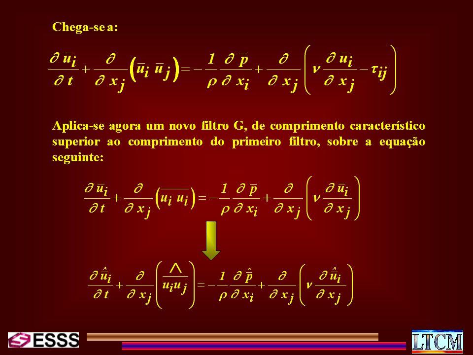 Chega-se a: Aplica-se agora um novo filtro G, de comprimento característico superior ao comprimento do primeiro filtro, sobre a equação seguinte: