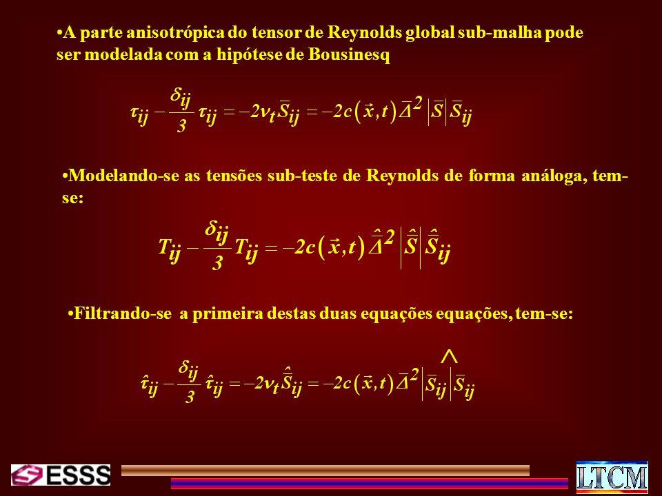 A parte anisotrópica do tensor de Reynolds global sub-malha pode ser modelada com a hipótese de Bousinesq
