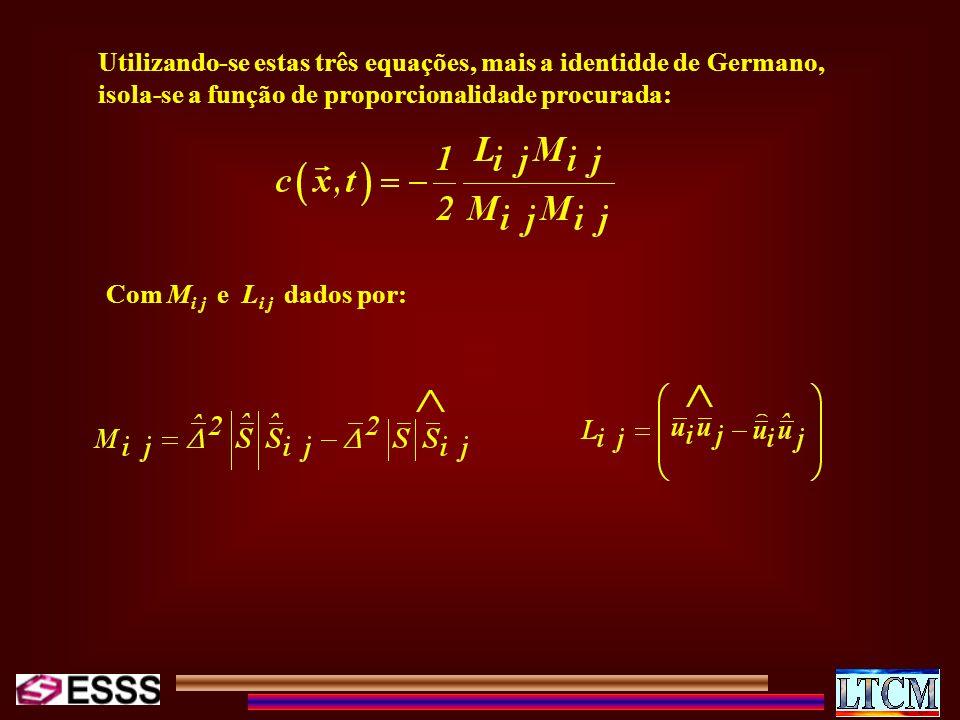 Utilizando-se estas três equações, mais a identidde de Germano, isola-se a função de proporcionalidade procurada:
