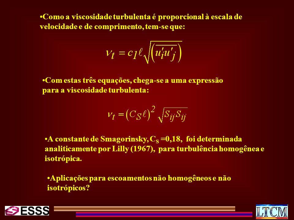 Como a viscosidade turbulenta é proporcional à escala de velocidade e de comprimento, tem-se que: