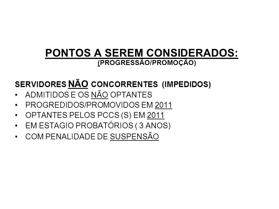 PONTOS A SEREM CONSIDERADOS: (PROGRESSÃO/PROMOÇÃO)