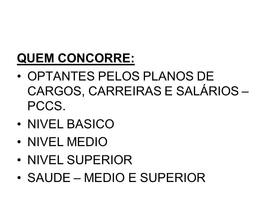 QUEM CONCORRE: OPTANTES PELOS PLANOS DE CARGOS, CARREIRAS E SALÁRIOS –PCCS. NIVEL BASICO. NIVEL MEDIO.
