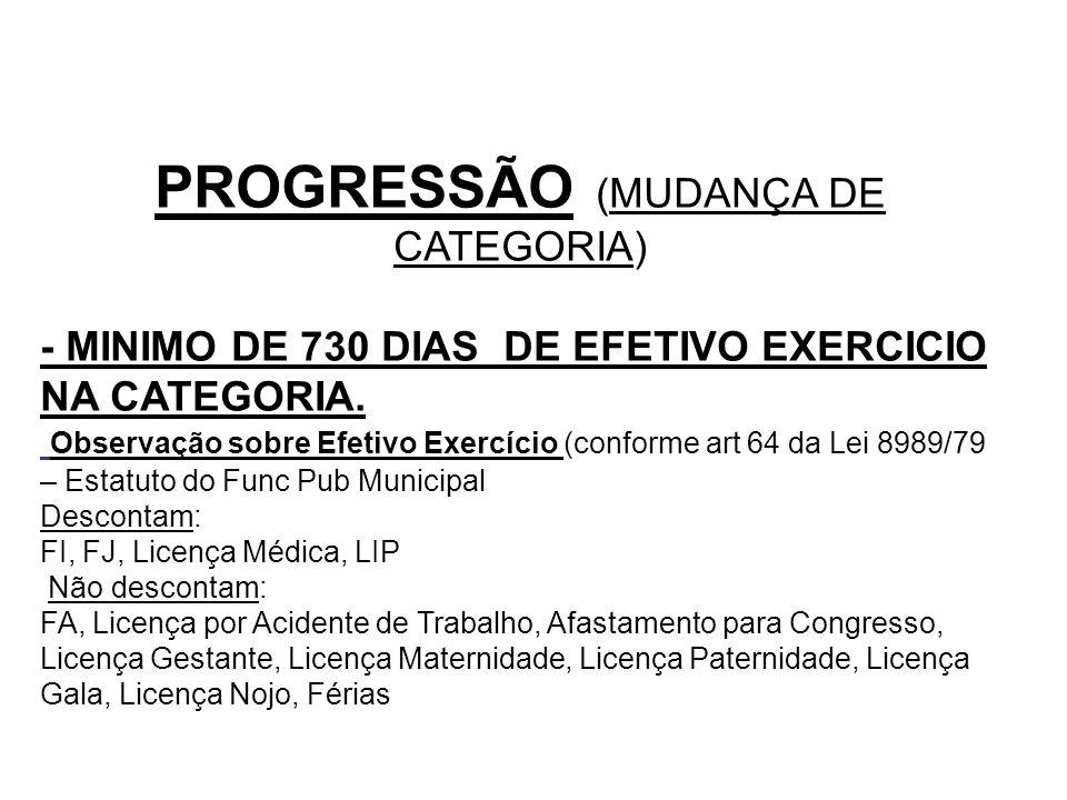 PROGRESSÃO (MUDANÇA DE CATEGORIA)