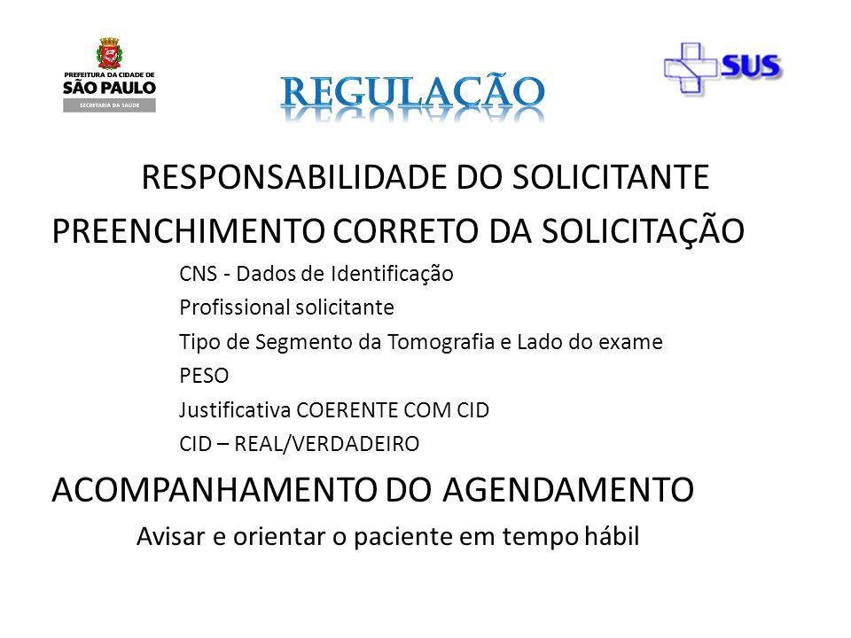 RESPONSABILIDADE DO SOLICITANTE