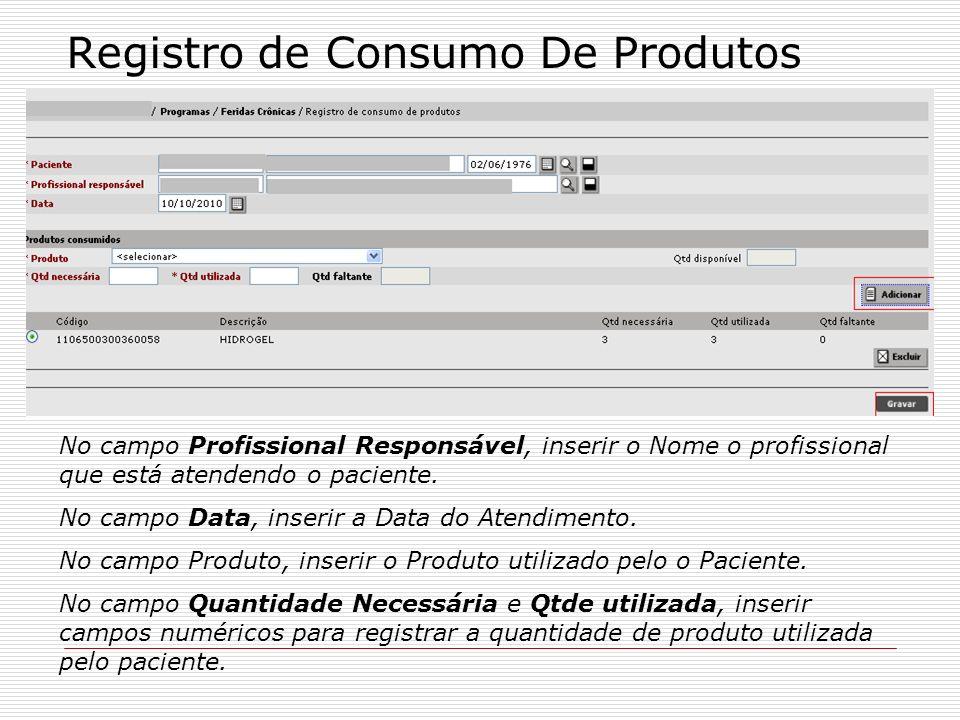 Registro de Consumo De Produtos
