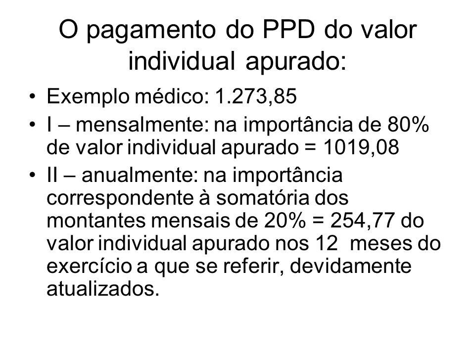 O pagamento do PPD do valor individual apurado: