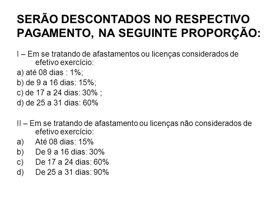 SERÃO DESCONTADOS NO RESPECTIVO PAGAMENTO, NA SEGUINTE PROPORÇÃO: