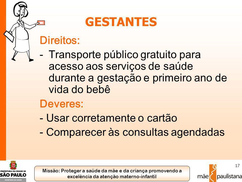 GESTANTES Direitos: Transporte público gratuito para acesso aos serviços de saúde durante a gestação e primeiro ano de vida do bebê.