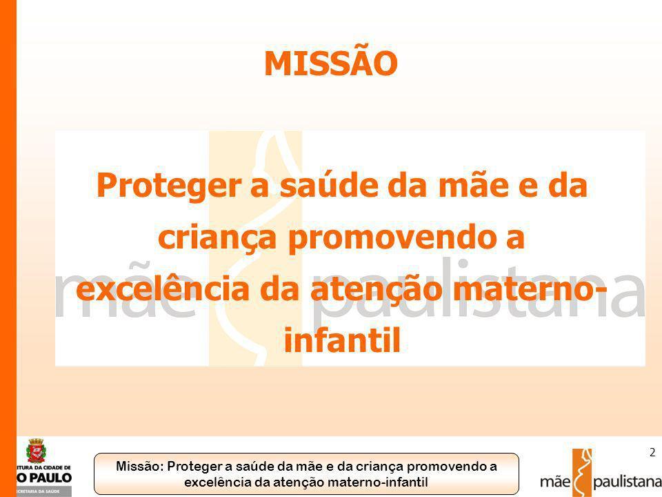 MISSÃO Proteger a saúde da mãe e da criança promovendo a excelência da atenção materno-infantil