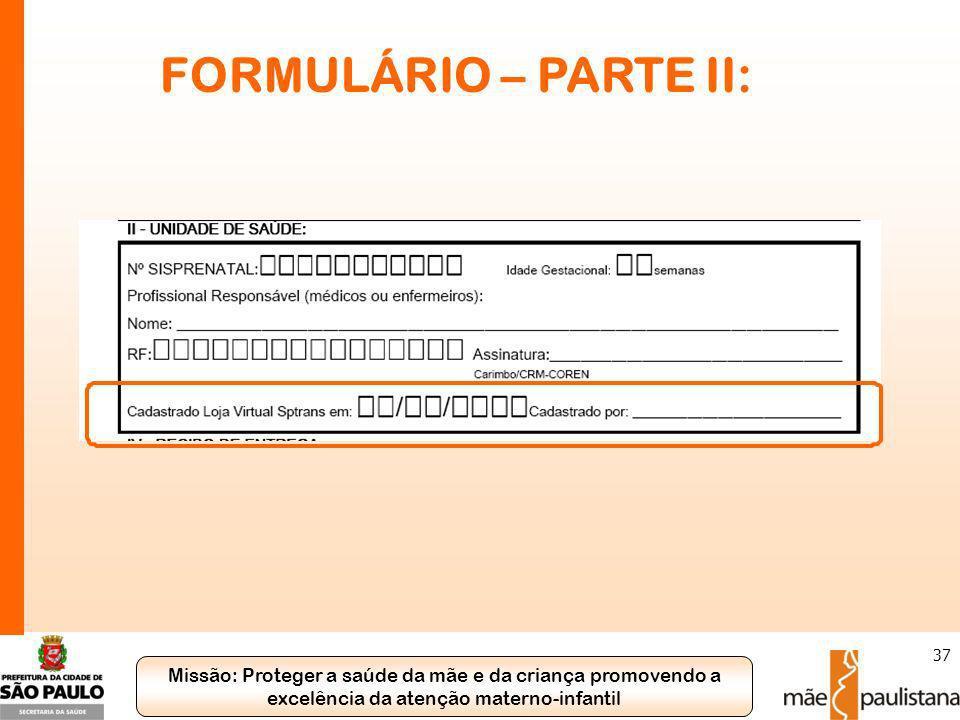 FORMULÁRIO – PARTE II: