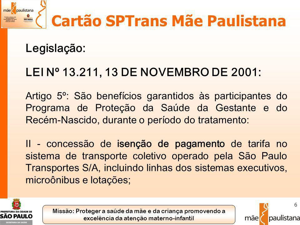 Cartão SPTrans Mãe Paulistana