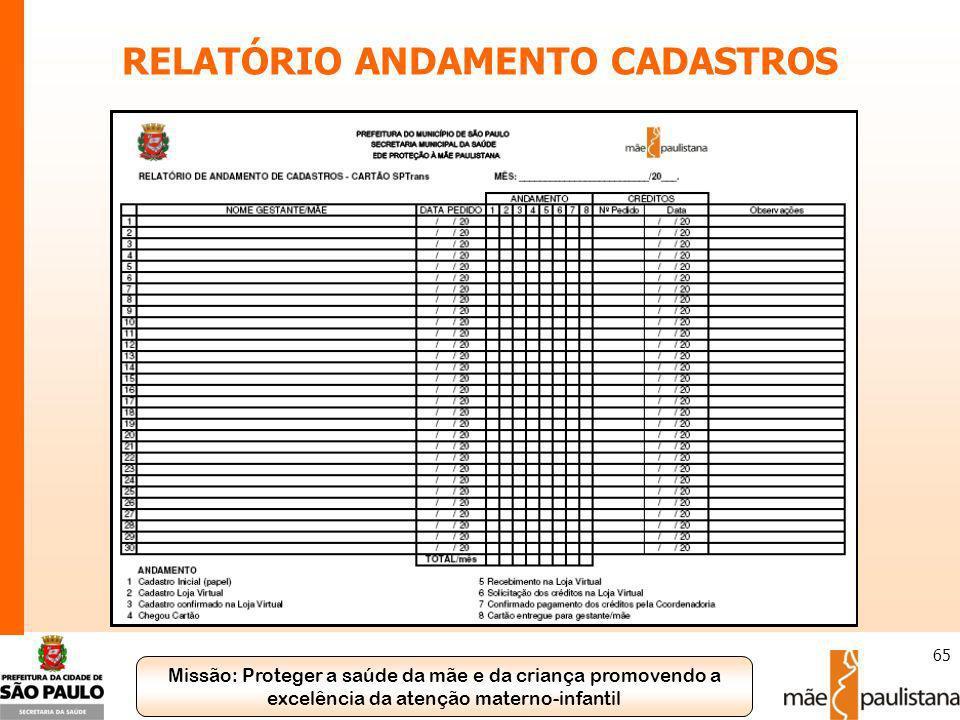 RELATÓRIO ANDAMENTO CADASTROS