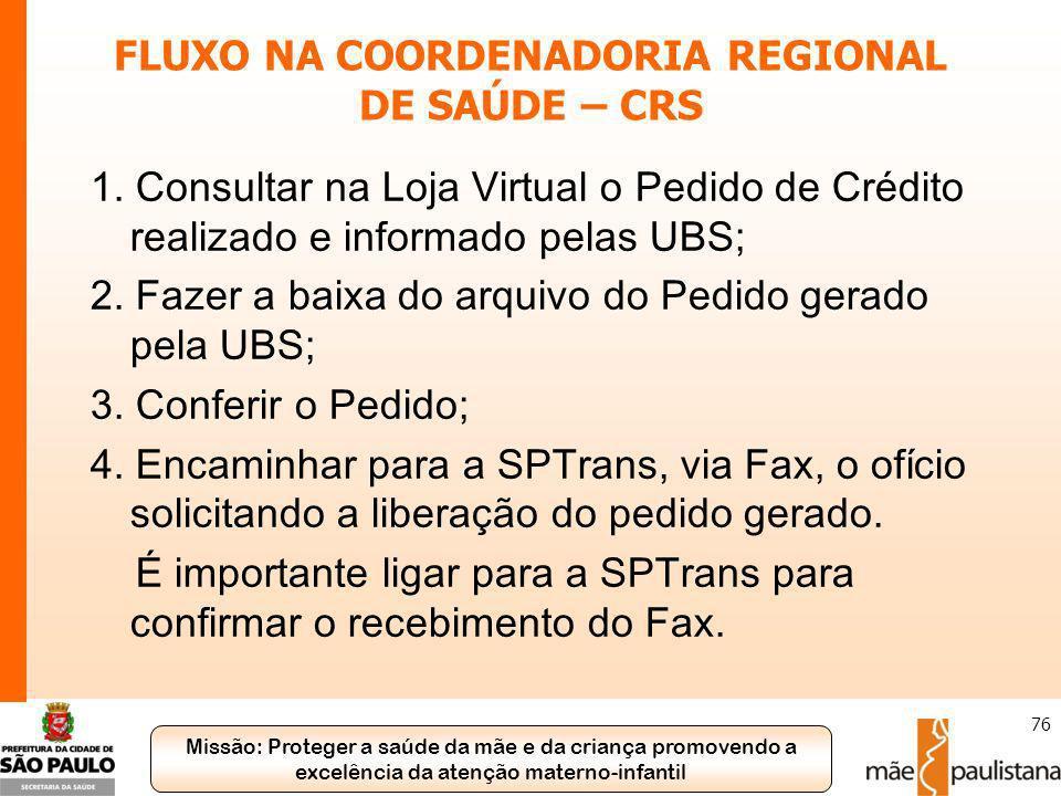 FLUXO NA COORDENADORIA REGIONAL DE SAÚDE – CRS