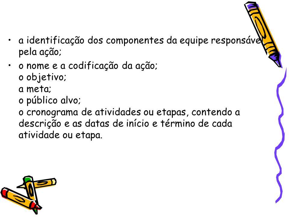 a identificação dos componentes da equipe responsável pela ação;