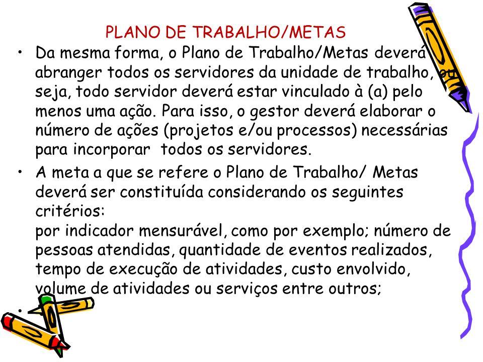 PLANO DE TRABALHO/METAS