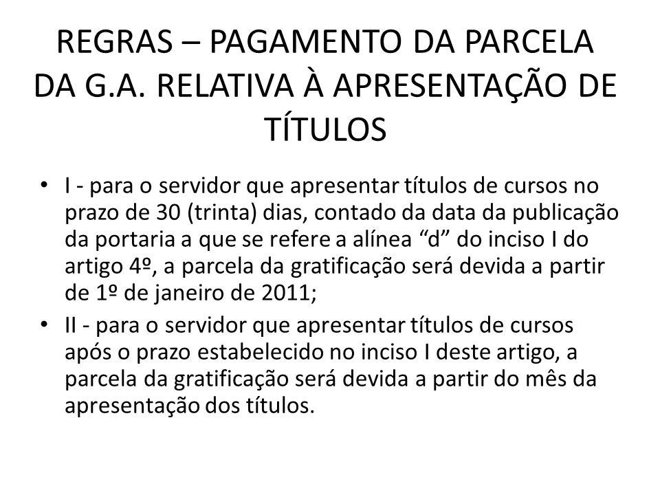 REGRAS – PAGAMENTO DA PARCELA DA G. A