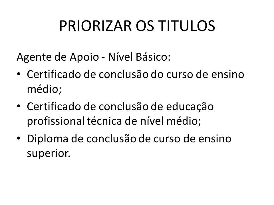 PRIORIZAR OS TITULOS Agente de Apoio - Nível Básico: