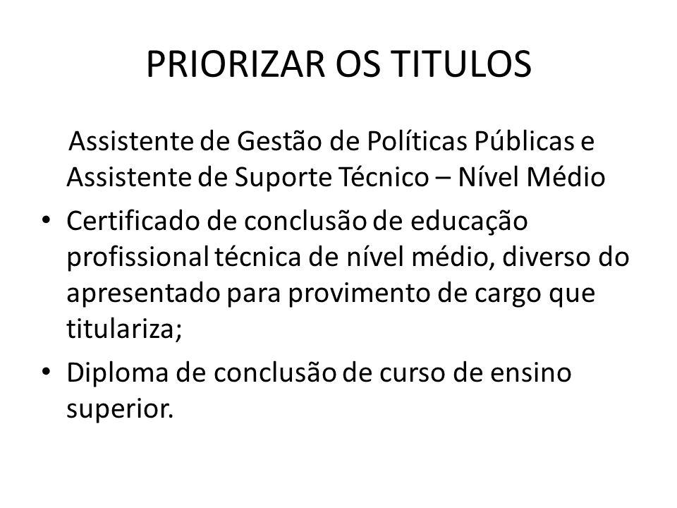 PRIORIZAR OS TITULOSAssistente de Gestão de Políticas Públicas e Assistente de Suporte Técnico – Nível Médio.