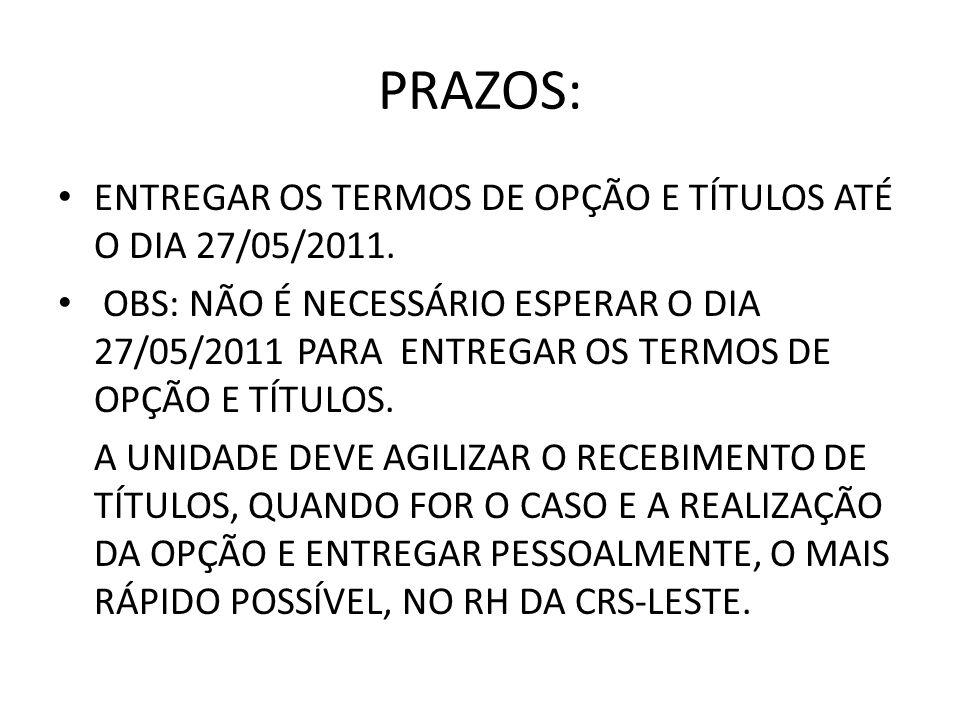 PRAZOS: ENTREGAR OS TERMOS DE OPÇÃO E TÍTULOS ATÉ O DIA 27/05/2011.