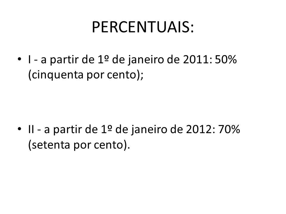 PERCENTUAIS:I - a partir de 1º de janeiro de 2011: 50% (cinquenta por cento); II - a partir de 1º de janeiro de 2012: 70% (setenta por cento).