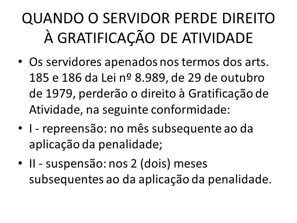 QUANDO O SERVIDOR PERDE DIREITO À GRATIFICAÇÃO DE ATIVIDADE