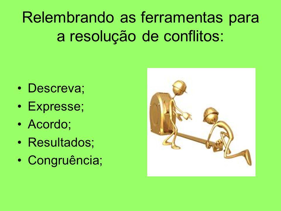 Relembrando as ferramentas para a resolução de conflitos: