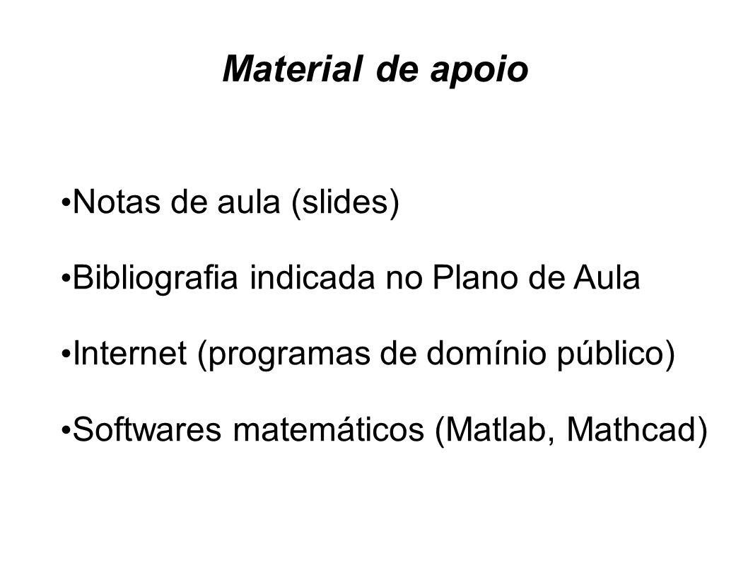 Material de apoio Notas de aula (slides)