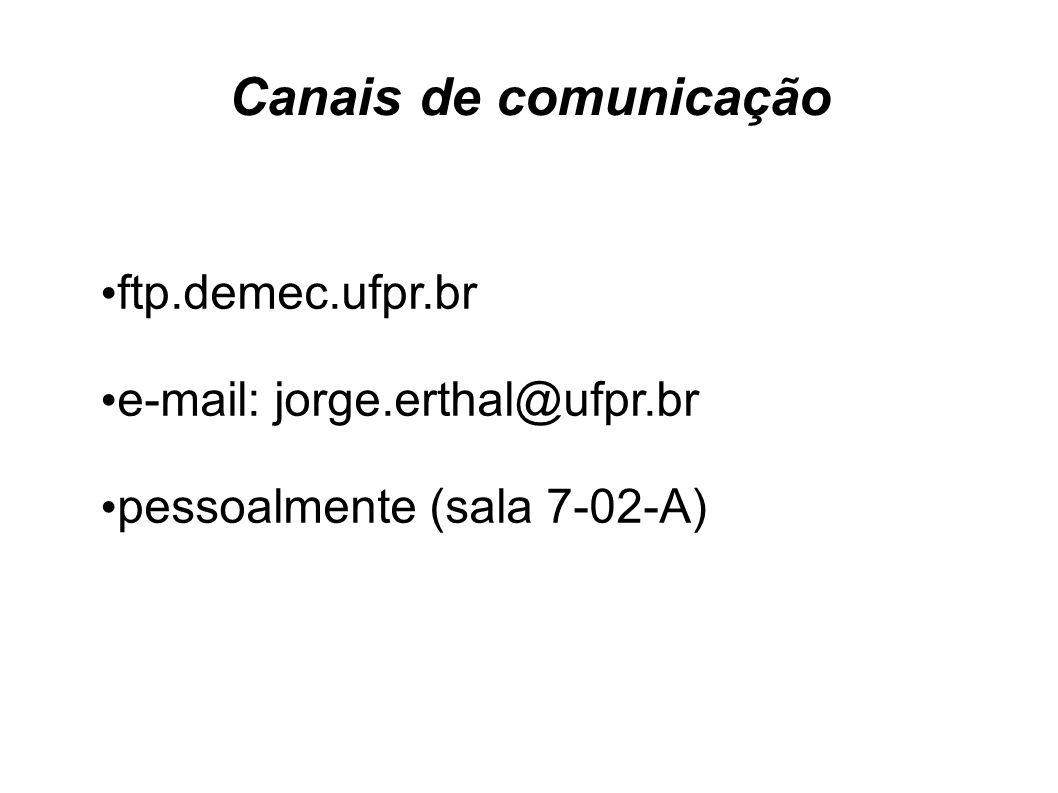 Canais de comunicação ftp.demec.ufpr.br e-mail: jorge.erthal@ufpr.br